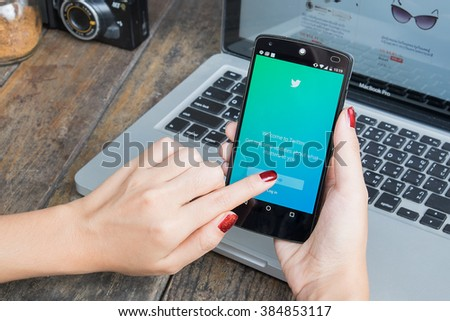 CHIANG MAI, THAILAND -March 2, 2016:LG Nexus 5 open log in Twitter application. Twitter is largest and most popular social networking site in the world. - stock photo