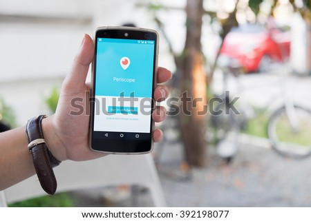 CHIANG MAI, THAILAND -March 16, 2016:LG Nexus 5 open Periscope app . Periscope is made by Twitter - lets you broadcast live video to the world. - stock photo