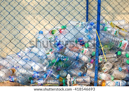 CHIANG MAI,THAILAND - MAY 10 : Recycling center collects plastic bottles on MAY 10, 2015 in Chiang mai,Thailand's Department of Health Exposing waste in an increase of up to 15 million tons per year . - stock photo
