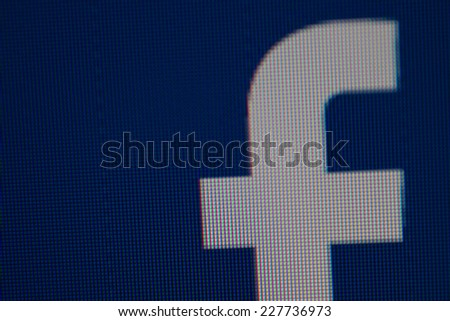CHIANG MAI, THAILAND - NOVEMBER 3, 2014: Facebook logo on computuer monitor. Facebook is largest and most popular social networking site in the world. - stock photo