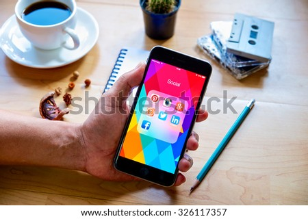 CHIANG MAI, THAILAND - OCT 11, 2015 Group of Popular Social networks icons showing on Apple iPhone 6 plus screen device.  - stock photo