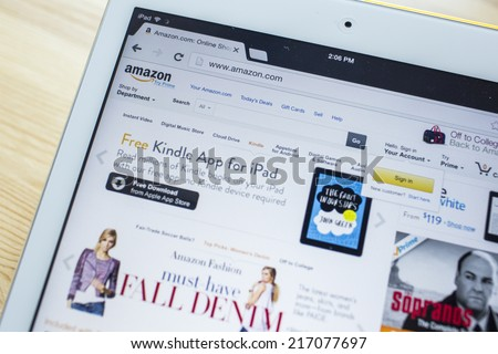 CHIANG MAI, THAILAND - SEPTEMBER 07, 2014: Amazon.com, Inc. is an American international electronic commerce company. It is the world's largest online retailer. Site went online as Amazon.com in 1995. - stock photo