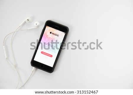 CHIANG MAI,THAILAND - SEPTEMBER 4, 2015 : Screen shot of Apple music app showing on iPhone 6 plus. Apple Music is the new iTunes-based music streaming service that arrived on iPhone - stock photo