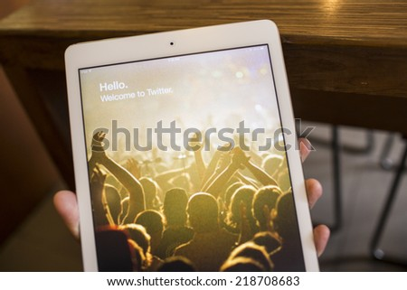 CHIANG MAI, THAILAND - SEPTEMBER 17, 2014: Twitter application sign in page Apple iPad Air. Twitter is largest and most popular social networking site in the world. - stock photo