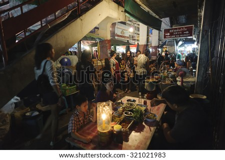 CHIANG MAI THAILAND - SEPTEMBER 26 : Warorot Market, Popular tourists and local people come to buy food & fruit to dinner, night market open every day. on Sept. 26 , 2015 in Chiang Mai, Thailand. - stock photo