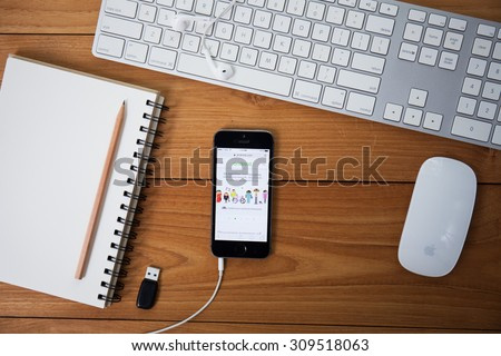 CHIANG MAI, THAILND AUGUST 25,2015 : www.android.com website on iphone screen. Android is an operating system based on the Linux kernel and designed for touchscreen mobile devices. - stock photo