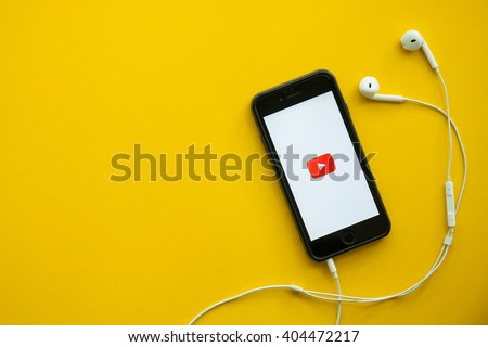 CHIANGMAI,THAILAND - Apirl 12, 2016: Photo of iPhone device with a YouTube search app running - stock photo