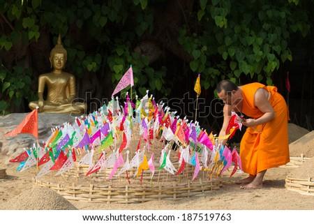 CHIANGMAI, THAILAND - APRIL 13:  Unidentified Thai monks in Pantao temple in Songkran Festival 2014 (Thailand new year) on April 13,2014 in Chiang Mai, Thailand. - stock photo