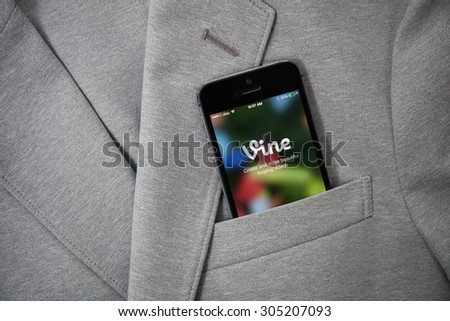 CHIANGMAI, THAILAND - AUGUST 11, 2015: Silver Apple iphone 6 in jeans pocket displaying Vine application. Vine is a short-form video sharing service. Founded in June 2012 - stock photo