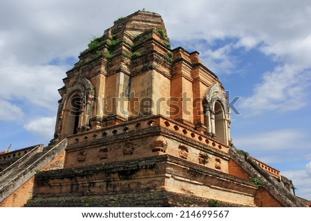 CHIANGMAI , THAILAND -AUGUST 14 2014: Wat Jedi Luang,  Buddhist temple in the historic centre of Chiang Mai, Thailand. - stock photo