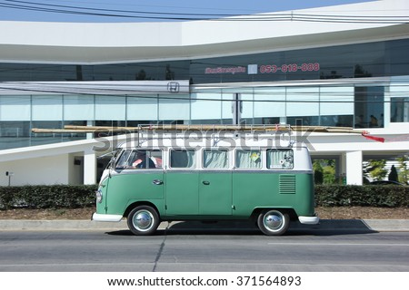 CHIANGMAI, THAILAND -DECEMBER 12 2015:   Vintage volkswagen van. Photo at road no.121 about 8 km from downtown Chiangmai, thailand. - stock photo