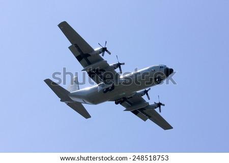 CHIANGMAI , THAILAND -FEBRUARY  5 2014: 60111 C-130 of Royal Thai Air force. Landing to Chiangmai Airport. - stock photo