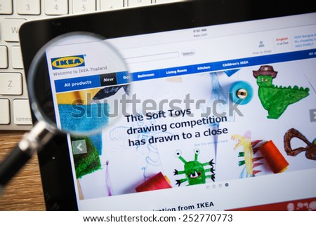 CHIANGMAI, THAILAND - FEBRUARY 15, 2015: Photo of Ikea.com homepage on a apple ipad screen. - stock photo