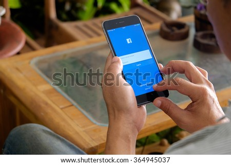 CHIANGMAI,THAILAND - JAN 20 2016 : Facebook is an online social networking service founded in February 2004 by Mark Zuckerberg with his college roommates and is now a fortune 500 company. - stock photo