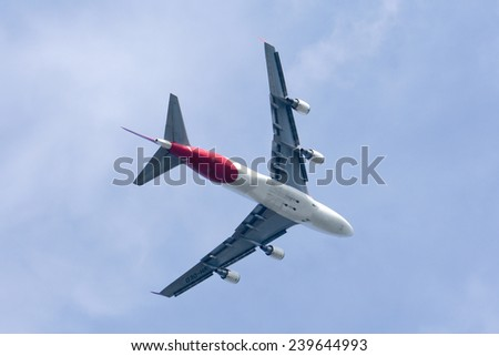 CHIANGMAI , THAILAND- JANUARY 4 2009: VH-OED Boeing 747-400 of Qantas airway. Takeoff from Chiangmai airport to Sydney, Australia. - stock photo