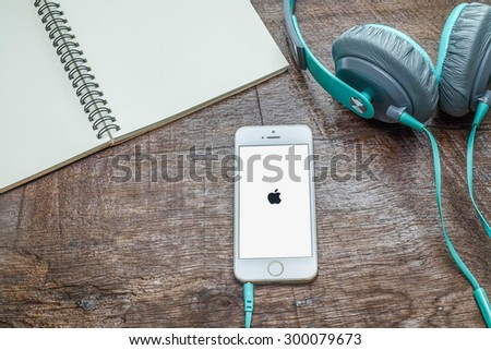 CHIANGMAI, THAILAND -JULY 27, 2015:New iPhone 5s is a smartphone developed by Apple Inc. Apple releases the new iPhone 5s - stock photo
