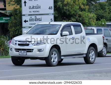 CHIANGMAI, THAILAND -JULY  2 2015:  Private car, Isuzu D-max Hi-Lander. Photo at road no 121 about 8 km from downtown Chiangmai, thailand. - stock photo