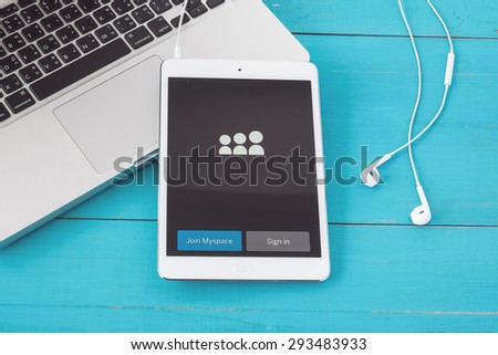 CHIANGMAI, THAILAND -JUNE 30, 2015:Apple iphone 5s displaying Myspace application. - stock photo