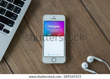 CHIANGMAI, THAILAND -JUNE 22 , 2015:Instagram page on new iphone 5s. The photo-sharing social network, which has 150 million monthly active users - stock photo