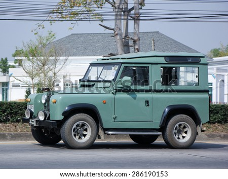 CHIANGMAI , THAILAND -JUNE 6 2015: Old Private car. Land Rover mini Truck. Photo at road no.121 about 8 km from downtown Chiangmai, thailand. - stock photo