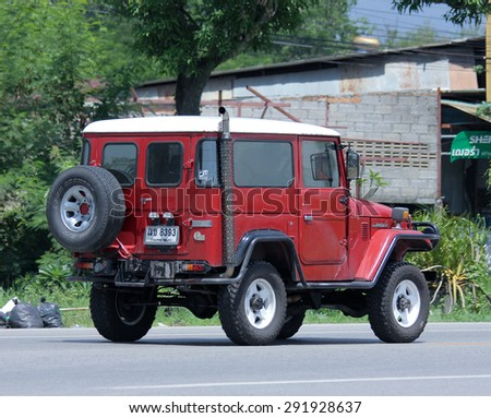 CHIANGMAI , THAILAND -JUNE 29 2015: Old Private car. Toyota Landcruiser mini Truck. Photo at road no.121 about 8 km from downtown Chiangmai, thailand. - stock photo
