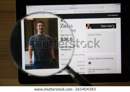 CHIANGMAI, THAILAND - March 31, 2015: Photo of Forbes article page about Mark Zuckerberg