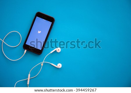 CHIANGMAI,THAILAND - MARCH 22, 2016:Photo of iPhone device with Twitter app running - stock photo
