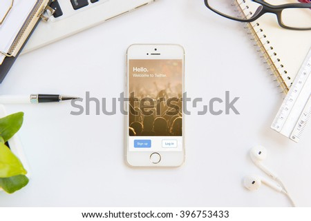 """CHIANGMAI, THAILAND -March 27, 2016:Twitter is an online social networking and microblogging service that enables users to send and read """"tweets""""  - stock photo"""