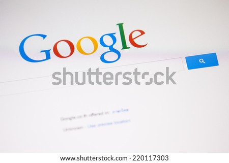CHIANGMAI, THAILAND -SEPTEMBER 28, 2014: Google is an American multinational corporation specializing in Internet-related services and products. Most of its profits are derived from AdWords. - stock photo