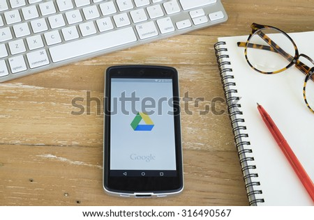 CHIANGMAI, THAILAND -September 14, 2015:LG Nexus5 opened to Google Drive. Google Drive is a free and have all files within reach from any smartphone, tablet, or computer.  - stock photo
