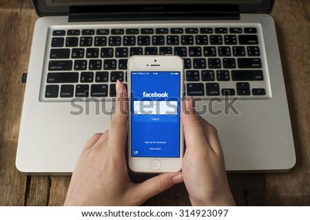 CHIANGMAI, THAILAND -SPE 10, 2015:Facebook is an online social networking service founded in February 2004 by Mark Zuckerberg with his college roommates and is now a fortune 500 company. - stock photo