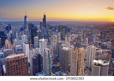 Chicago. Aerial view of Chicago downtown at twilight from high above. - stock photo