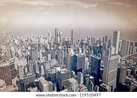 Chicago aerial view - old postcard design - stock photo