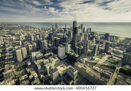 Chicago aerial view with downtown skyscrapers - stock photo