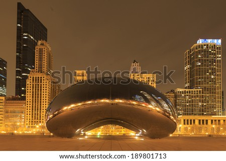 CHICAGO - APRIL 18. Millennium Park, Chicago on April 18 2014. Cloud Gate, also known as the Bean is one of the parks major attractions from 6am - 11pm daily. Admission is free. - stock photo