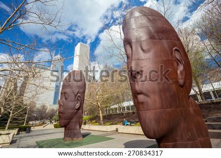CHICAGO - April 10 : Millennium Park, Chicago on April 10, 2015. Millennium Park is a public park located in the Loop community area of Chicago in Illinois, US,  - stock photo