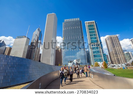 CHICAGO - April 10: Public BP walkway in Millenium park on April 10, 2015 in Chicago, IL. Millenium Park is the second most popular public attraction in the city of Chicago. - stock photo