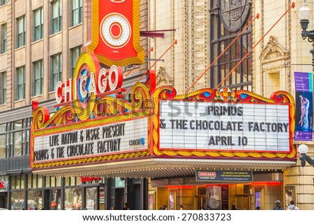 CHICAGO - April 10: The famous Chicago Theater on State Street onApril 10, 2015 in Chicago, Illinois. Opened in 1921, the theater was renovated in the 1980's at a cost of $4.3 million. - stock photo
