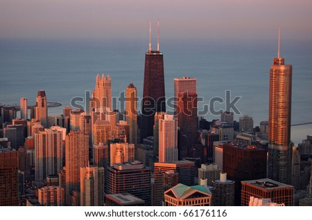 Chicago at sunset - stock photo
