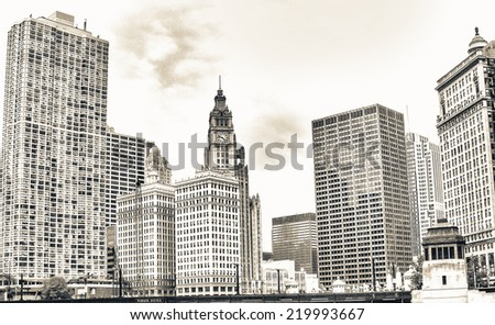 Chicago. Beautiful city skyline and river. - stock photo