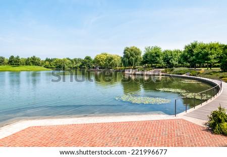 Chicago Botanic Garden with lake view, USA - stock photo