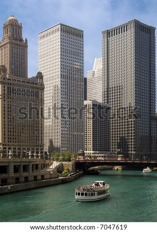 Chicago by river - stock photo