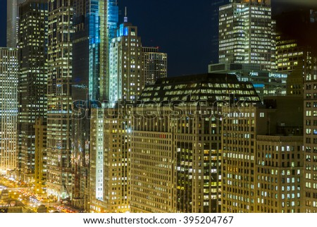 Chicago city at night, IL, USA - stock photo