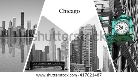 Chicago city presentation card - stock photo