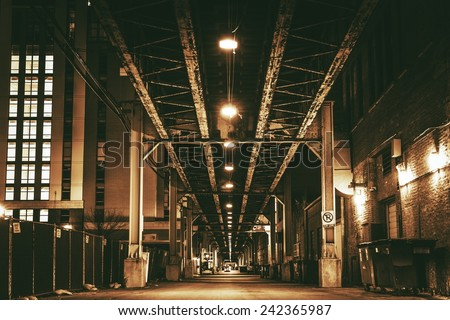 Chicago City Train Bridge in Downtown. Chicago After Dark. Sepia Color Grading Urban Theme. - stock photo