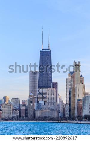 Chicago city urban skyscraper at  North Avenue Beach. - stock photo