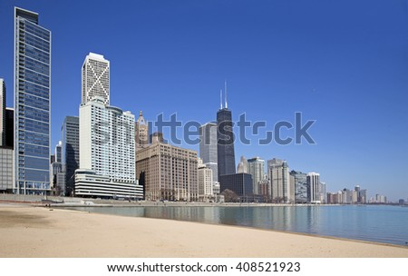 Chicago city view from the beach - stock photo