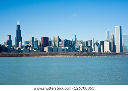 CHICAGO - DECEMBER 11: View of the Chicago skyline on December 11, 2012 in Chicago. Chicago is the third largest city in the United States, with a population of approximately 2.7 million residents. - stock photo