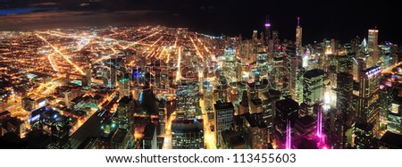 Chicago downtown aerial panorama view at night with skyscrapers and city skyline at Michigan lakefront. - stock photo