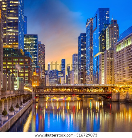 Chicago downtown and Chicago River at night  USA. - stock photo